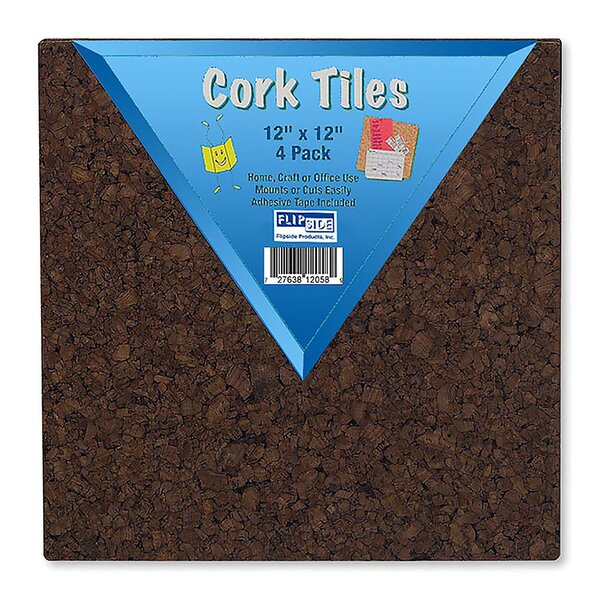 Cork Squares Wall Mounted Bulletin Board (Set of 4) by Elenco Electronics