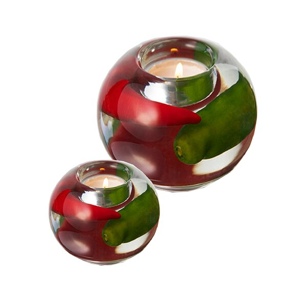2 Piece Glass Tealight Set by Fleur De Lis Living