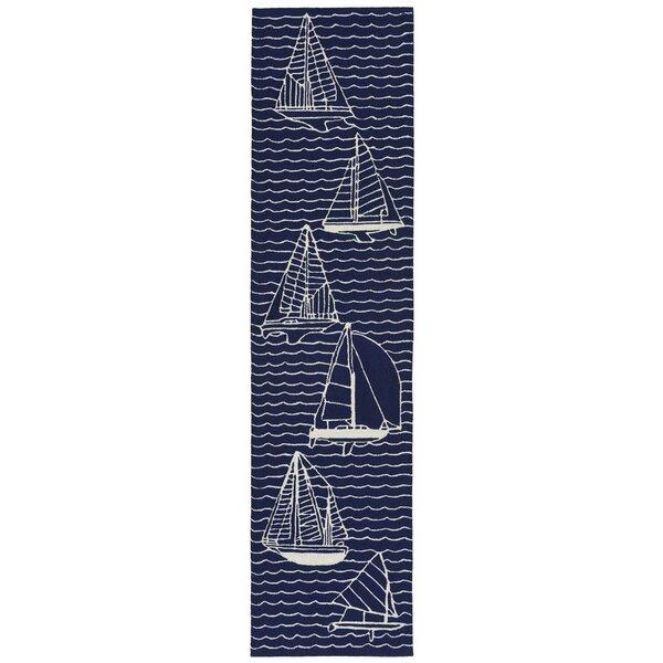 Northfield Sails Water Resistant Handmade Navy Indoor/Outdoor Area Rug by Beachcrest Home