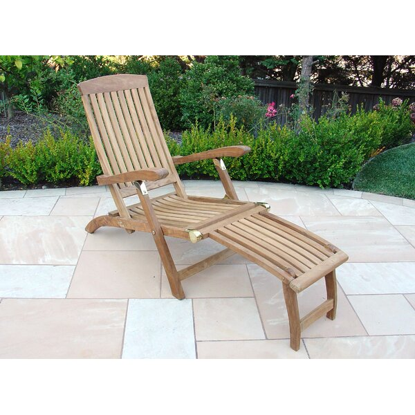 Guillermo Teak Recliner Patio Chair with Ottoman by Rosecliff Heights