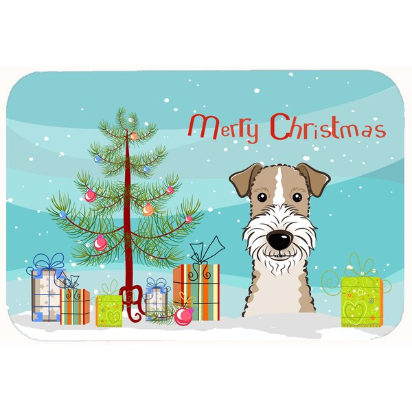 Christmas Tree and Wire Haired Fox Terrier Kitchen/Bath Mat by The Holiday Aisle