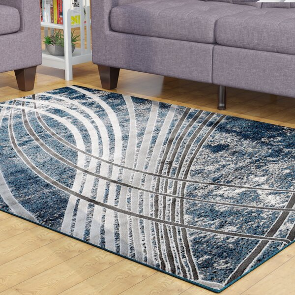 Mortimer Glamour Wave Blue /Gray Area Rug by Ebern Designs