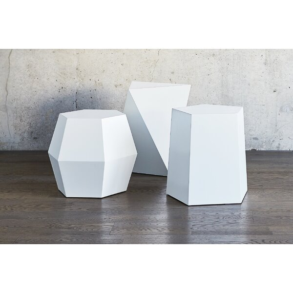 Facet 8 Matte White End Table by Gus* Modern