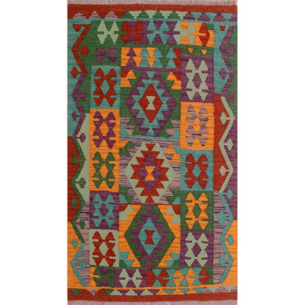 One-of-a-Kind Bakerstown Hand-Woven Wool Red/Green/Blue Area Rug by Bloomsbury Market