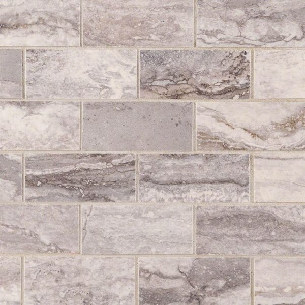 Bernini Pietra Carbone Polished 2 x 4 Porcelain Subway Tile in Gray by MSI