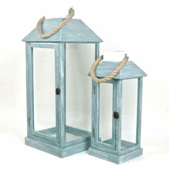 2 Piece Wood Lantern Set with Jute Rope by Rosecliff Heights