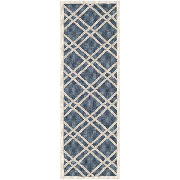 Short Ivory/Blue Indoor/Outdoor Area Rug by Winston Porter