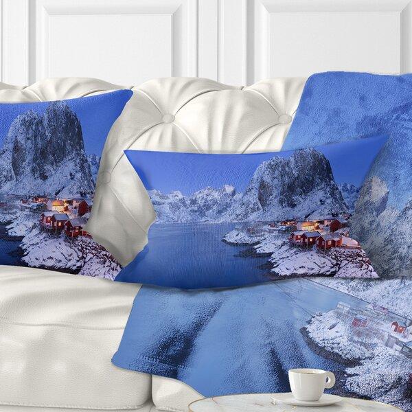 Seashore Fishermen Cabins in Winter Lumbar Pillow by East Urban Home