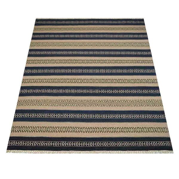 Henrik Handwoven Flatweave Wool Aqua/Cream Area Rug by Millwood Pines