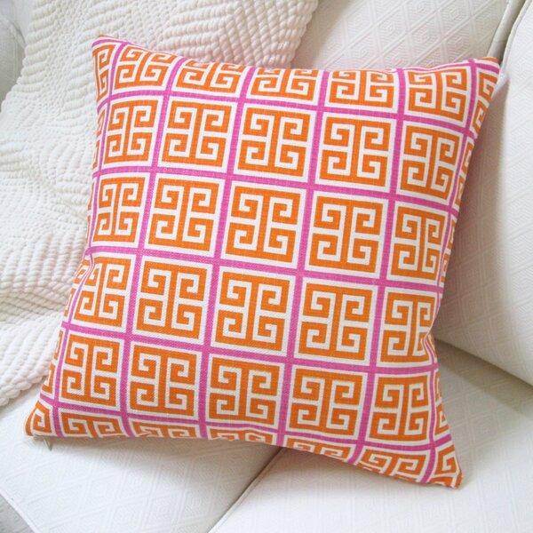 Greek Key Geometric Cotton Throw Pillow by Artisan Pillows