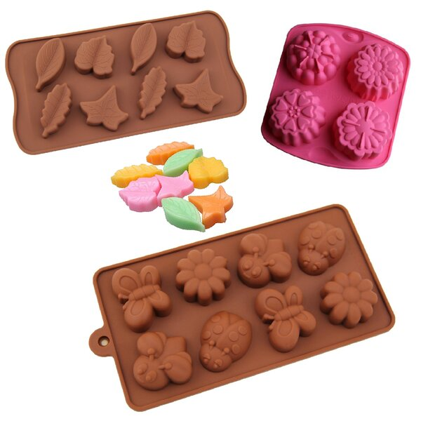 3 Piece Non-Stick Garden Flower, Butterfly and Leaves Silicone Mold Set by BargainRollback