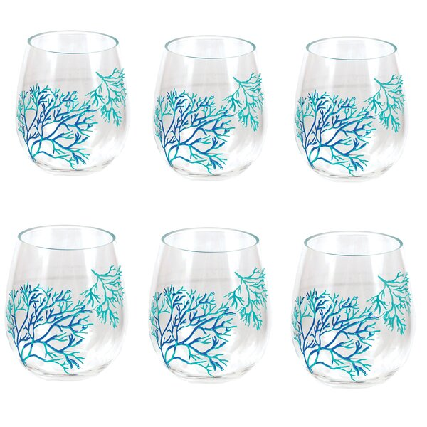 Huffman Coral Stemless Plastic Wine Glass (Set of 6) by Highland Dunes