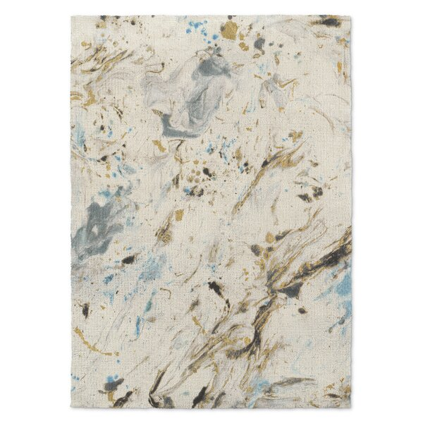 Davila Marbled Blue/Gray Area Rug by Wrought Studio
