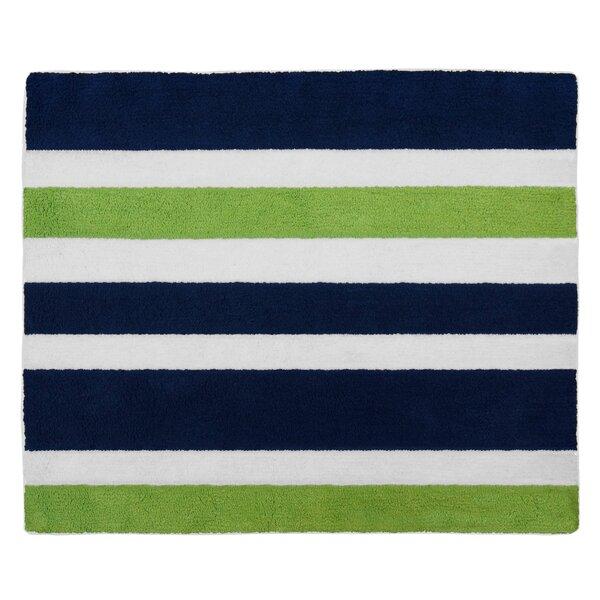 Navy Blue and Lime Green Stripe Bath Rug by Sweet Jojo Designs
