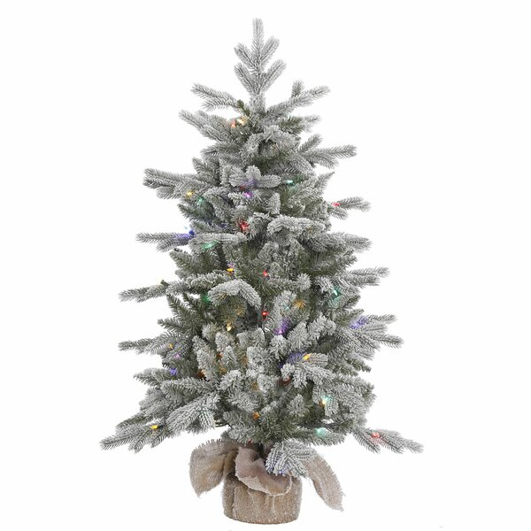 48 Frosted Pine Artificial Christmas Tree with 100 LED Multi-Colored Lights with Stand by The Holiday Aisle