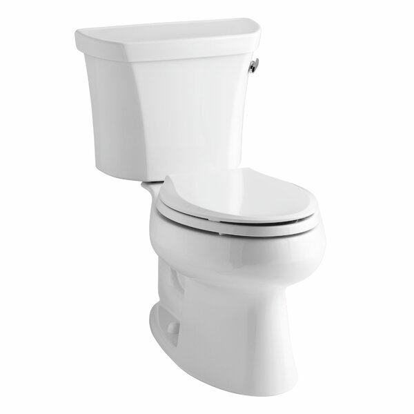 Wellworth Two-Piece Elongated 1.6 GPF Toilet with Class Five Flush Technology, Right-Hand Trip Lever and Tank Cover Locks by Kohler