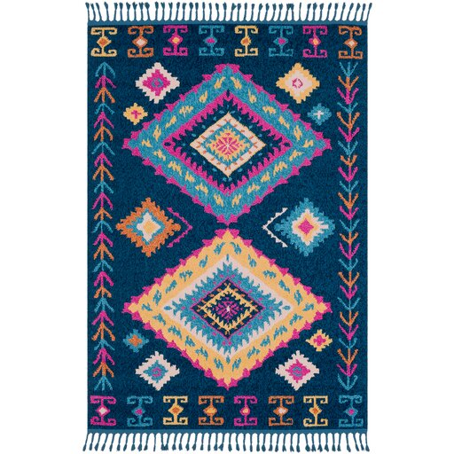 Harwyn Bohemian Navy/Sky Blue Area Rug by Bungalow Rose
