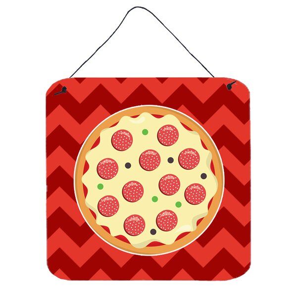 Pizza on Red Background Wall Décor by East Urban Home