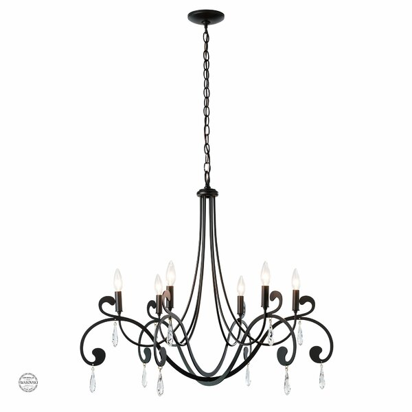 Vermont 6 - Light Candle Style Empire Chandelier with Antler Accents by Rosdorf Park Rosdorf Park