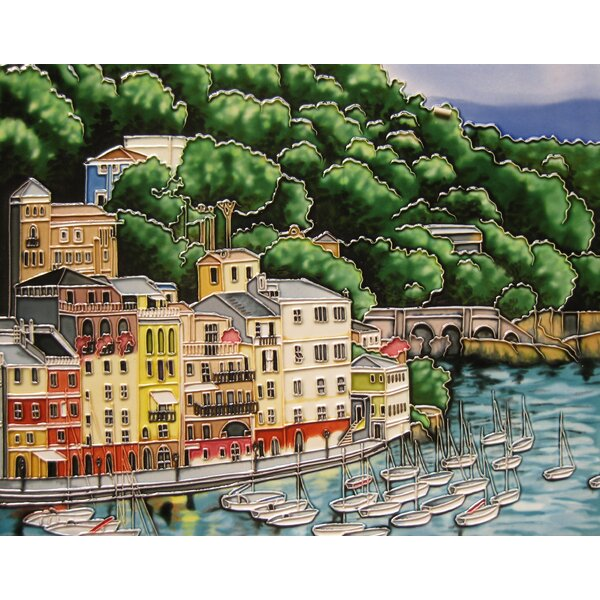 Portofino with Sailboat Tile Wall Decor by Continental Art Center