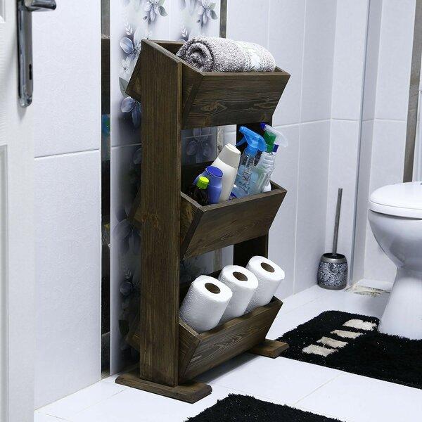 Trisler 20.5 W x 35.4 H x 10.2 D Solid Wood Free-Standing Bathroom Shelves