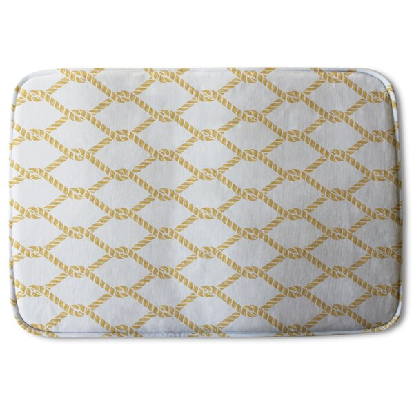 Bromley Chain Link Rope Designer Rectangle Non-Slip Geometric Bath Rug