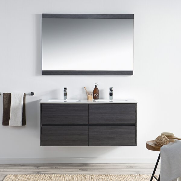 Oquendo 47 Wall-Mounted Double Bathroom Vanity Set with Mirror by Orren Ellis