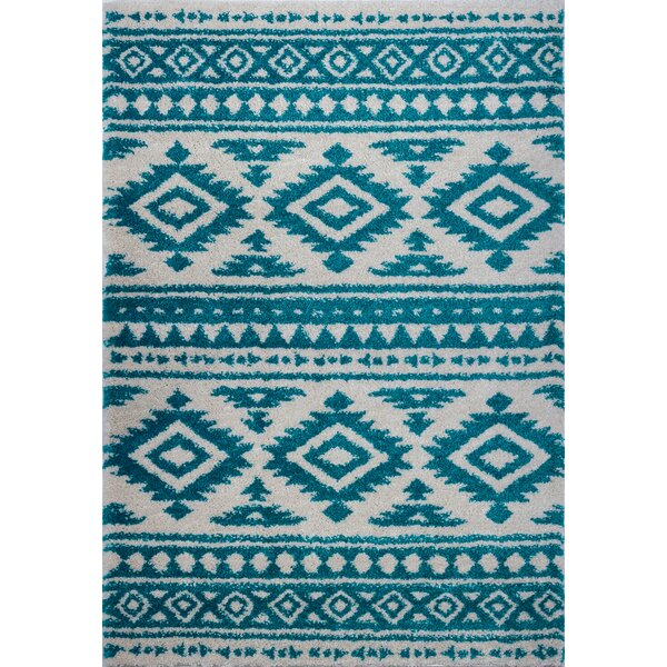 Lindgren Turquoise/Ivory Trellis Area Rug by Union Rustic