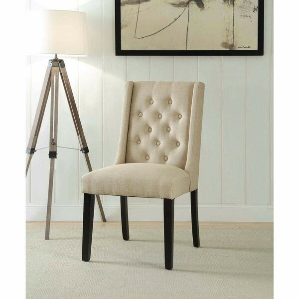 Chan Contemporary Wing-back Upholstered Dining Chair (Set of 2) by Alcott Hill