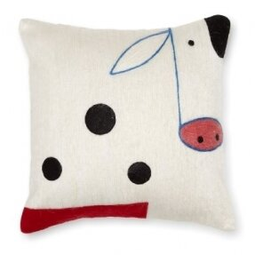 Cow Wool Throw Pillow by Amity Home