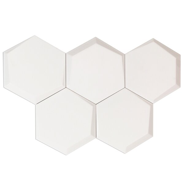 Bethlehem Hexagon 6 x 7 Ceramic Field Tile in Blanco Brillo by Splashback Tile