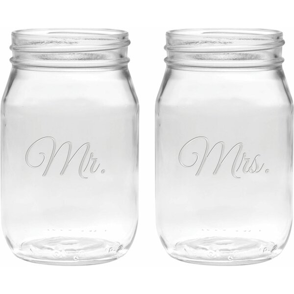 Lilienthal Deep Etched 16 Oz. Jar Glasses (Set of 2) by Winston Porter