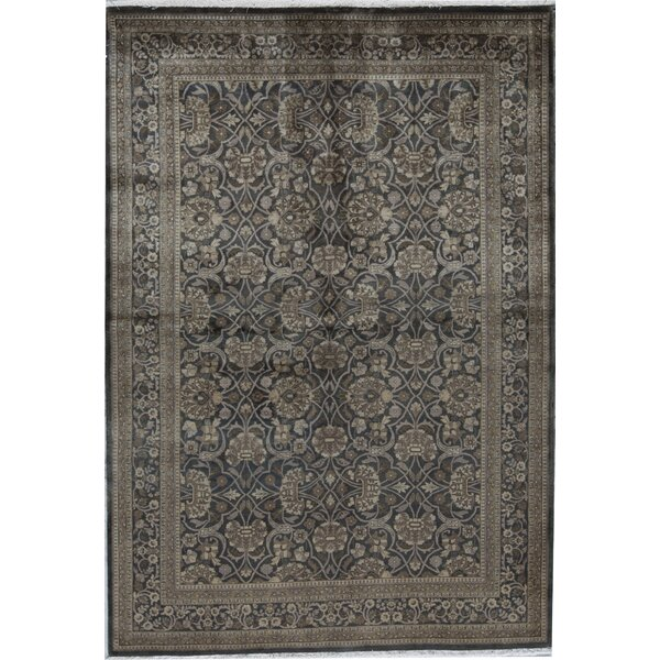 Oriental Hand-Knotted 6.3' x 9.2' Wool Black/Green Area Rug