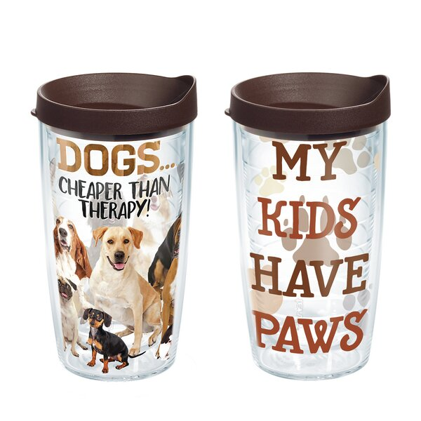 Dog Therapy 2 Piece 16 oz. Plastic Travel Tumbler Set by Tervis Tumbler