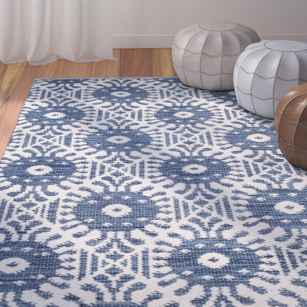 Clemence Hand-Woven Navy/Ivory Area Rug by Bungalow Rose