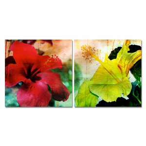 Tropical Hibiscus 2 Piece Graphic Art on Canvas Set by Ready2hangart