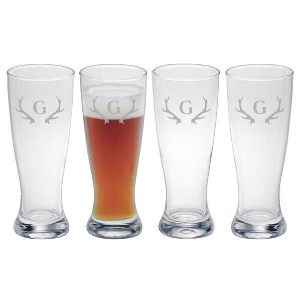 Antlers Monogram Grand Pilsner (Set of 4) by Susquehanna Glass