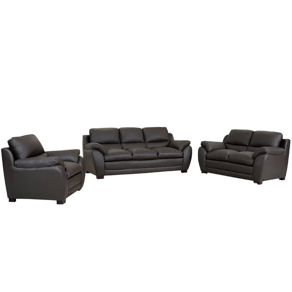 Marson Leather 3 Piece Living Room Set by Latitude Run