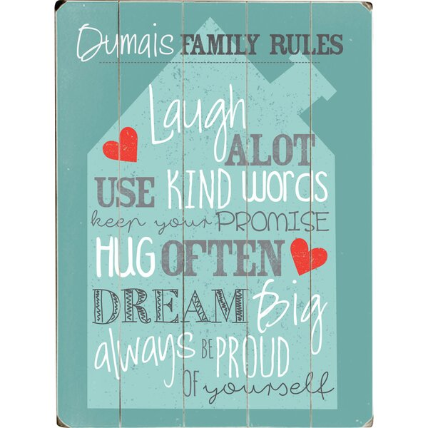 Personalized Family Rules Graphic Art Print Multi-Piece Image on Wood by Artehouse LLC