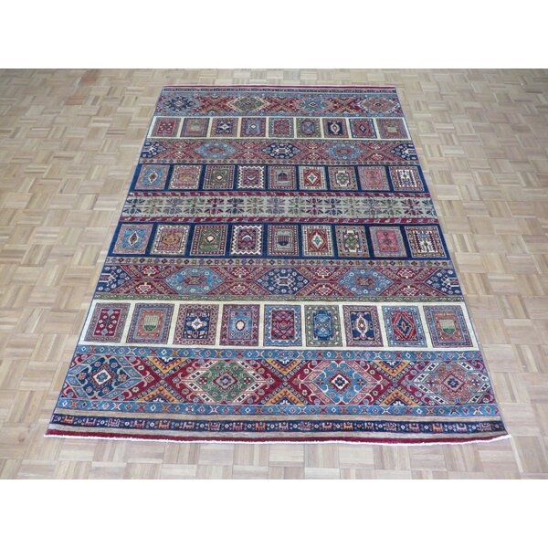 One-of-a-Kind Brittny Super Kazak Khorjin Hand-Knotted Wool Red/Blue Area Rug by Isabelline