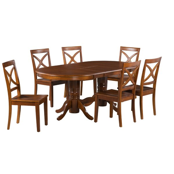 Guadalupe 7 Piece Extendable Solid Wood Dining Set by Alcott Hill