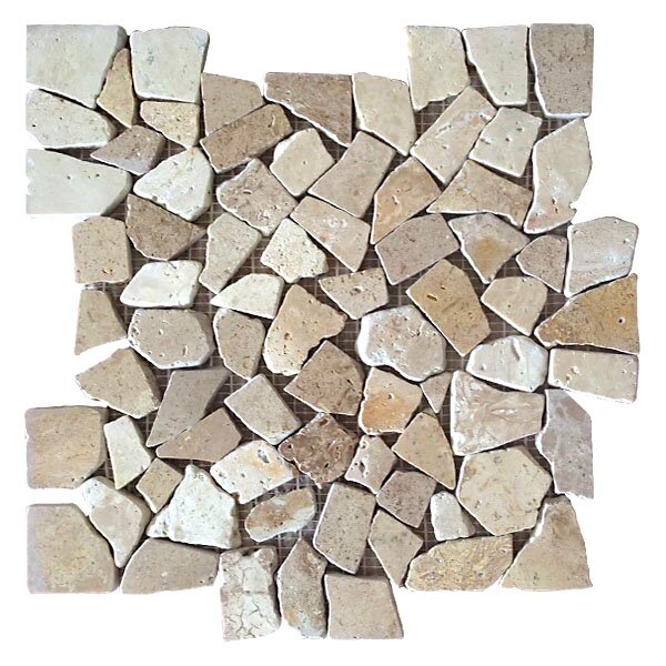 Random Sized Travertine Mosaic Tile in Tan/Beige by FuStone