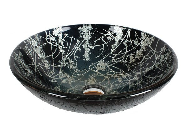 Tempered Glass Circular Vessel Bathroom Sink by Dawn USA