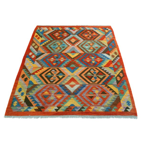 One-of-a-Kind Bakerstown Kilim Hand-Woven Red/Blue Area Rug by Bloomsbury Market