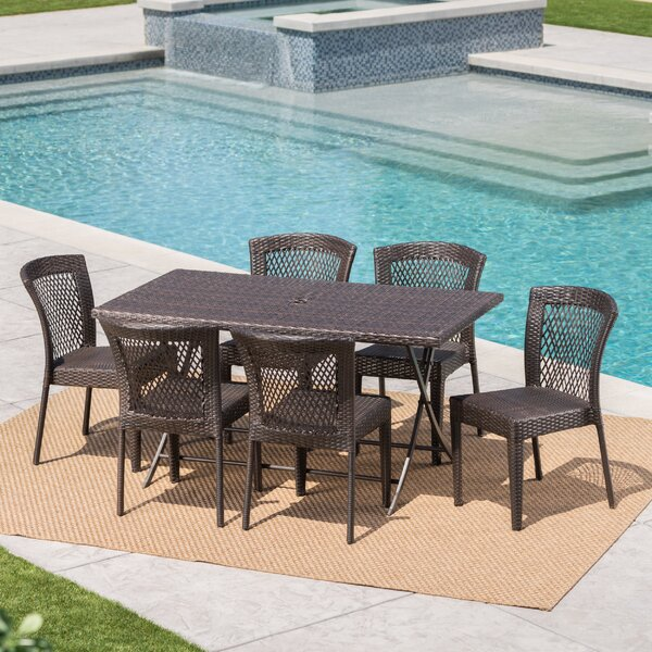 Soumya Outdoor Wicker 7 Piece Dining Set by Orren Ellis