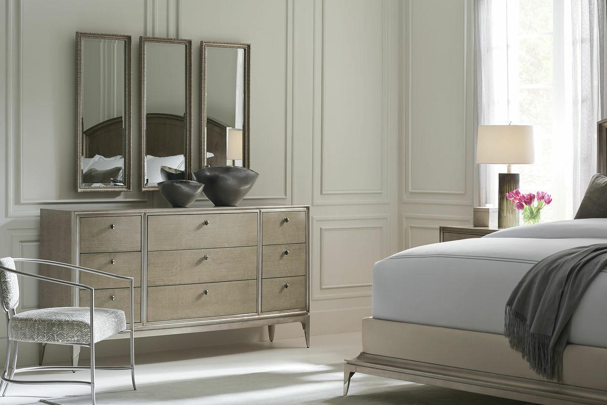 Caracole Classics Champagne Shimmer 9 Drawer Dresser With Mirror | Perigold