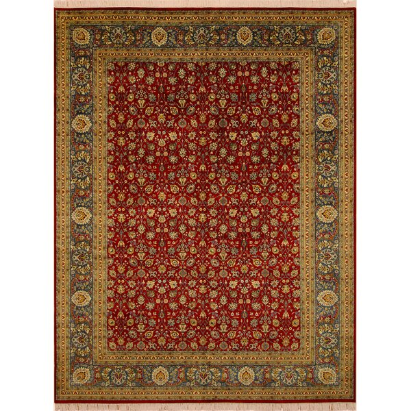 One-of-a-Kind Abequa Hand-Knotted Wool Red/Teal Area Rug by Isabelline