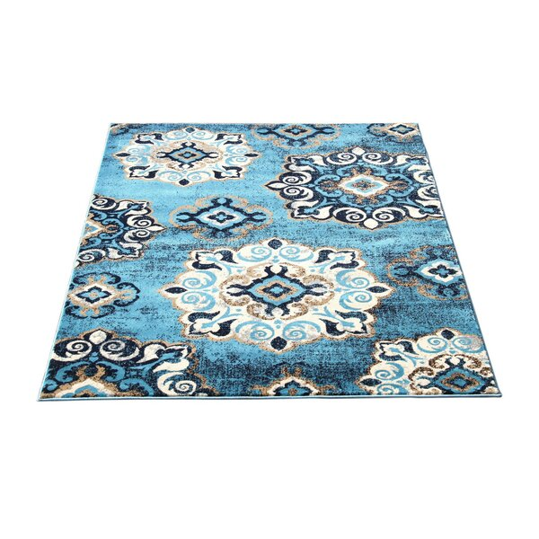Doreen Decorative Modern Contemporary Southwestern Rectangle Blue/Beige Area Rug by Winston Porter