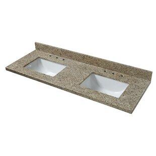 Savings Granite 61 Double Bathroom Vanity Top ByCahaba