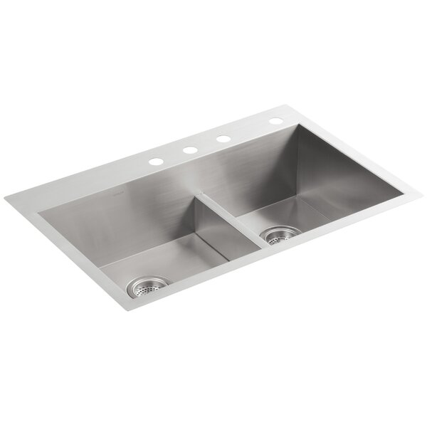 Vault 33 L x 22 W x 9-5/16 Smart Divide Top-Mount/Under-Mount Large/Medium Double-Bowl Kitchen Sink with 4 Faucet Holes by Kohler